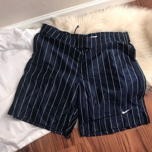 Vintage Nike navy and white striped b-ball shorts